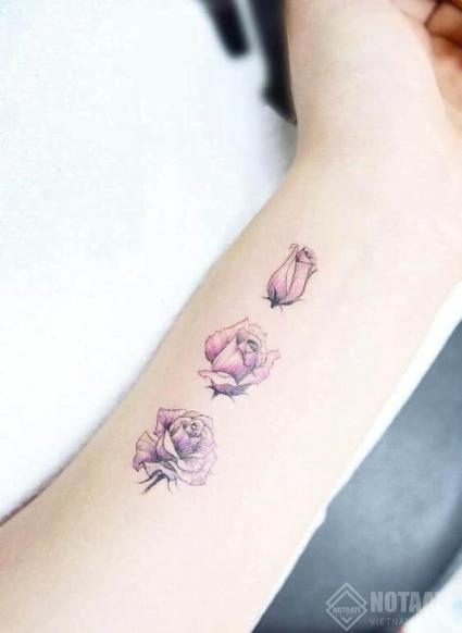 Hình xăm hoa hồng mini cổ tay
